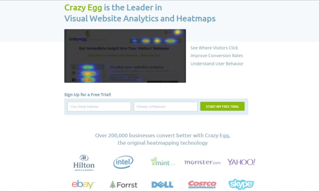 Crazy Egg landing page case study